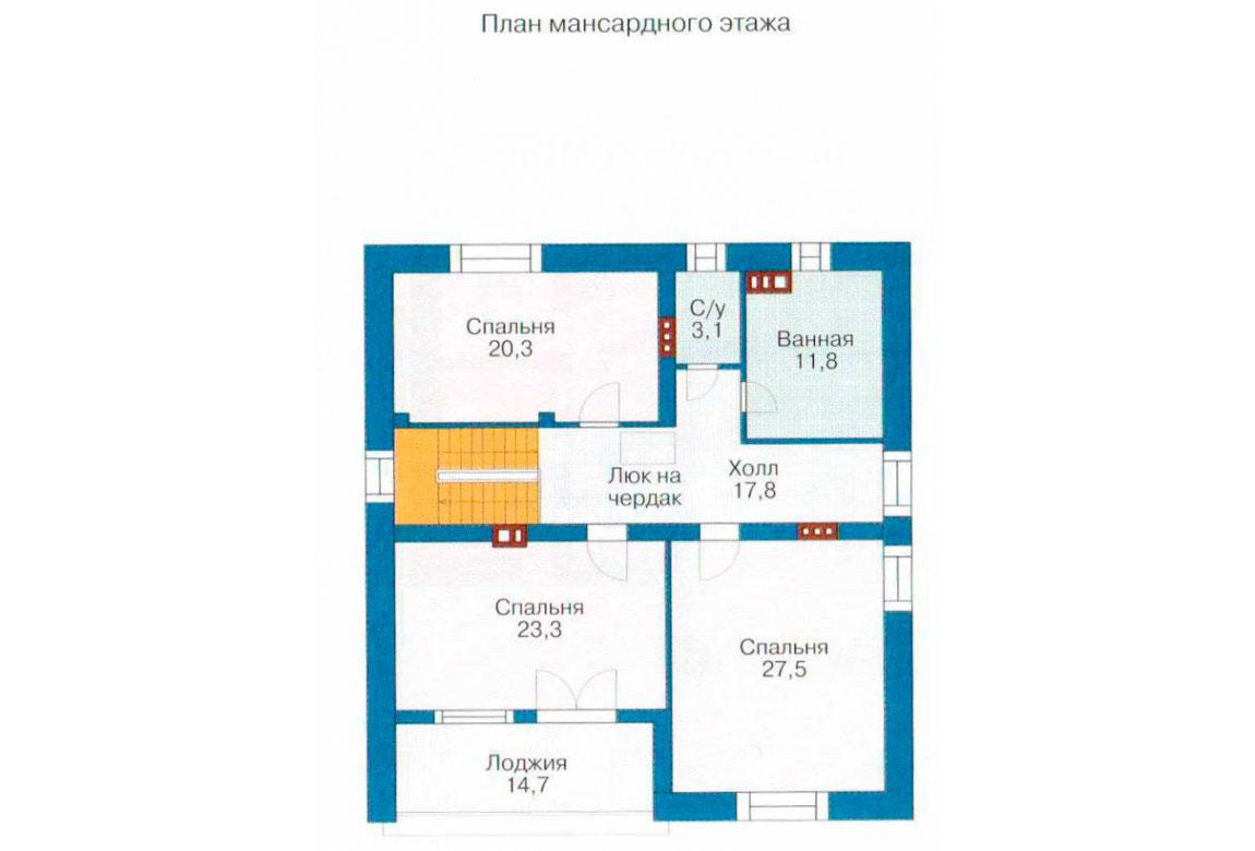 План N1 проекта дома из блоков АСД-1220
