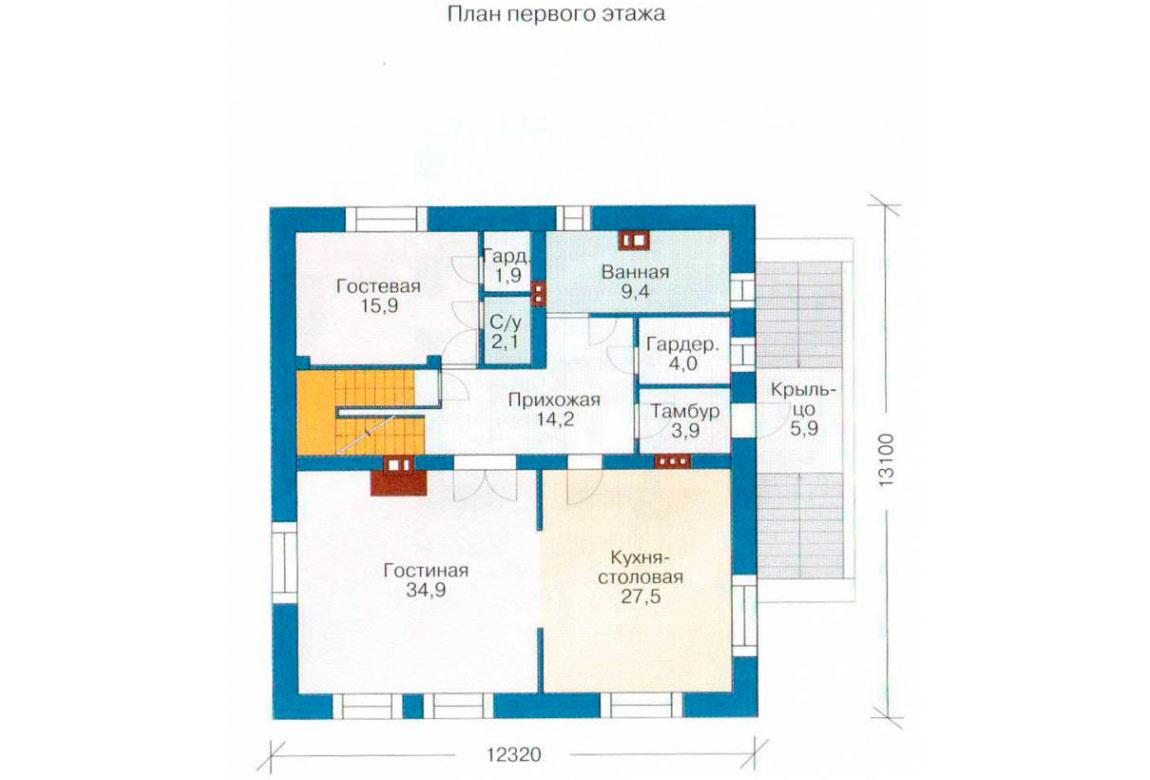 План N2 проекта дома из блоков АСД-1220