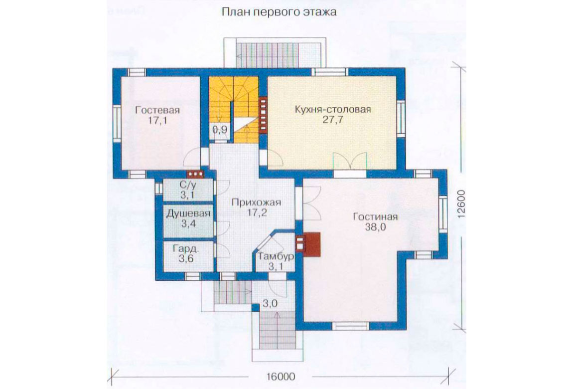 План N2 проекта дома из блоков АСД-1222