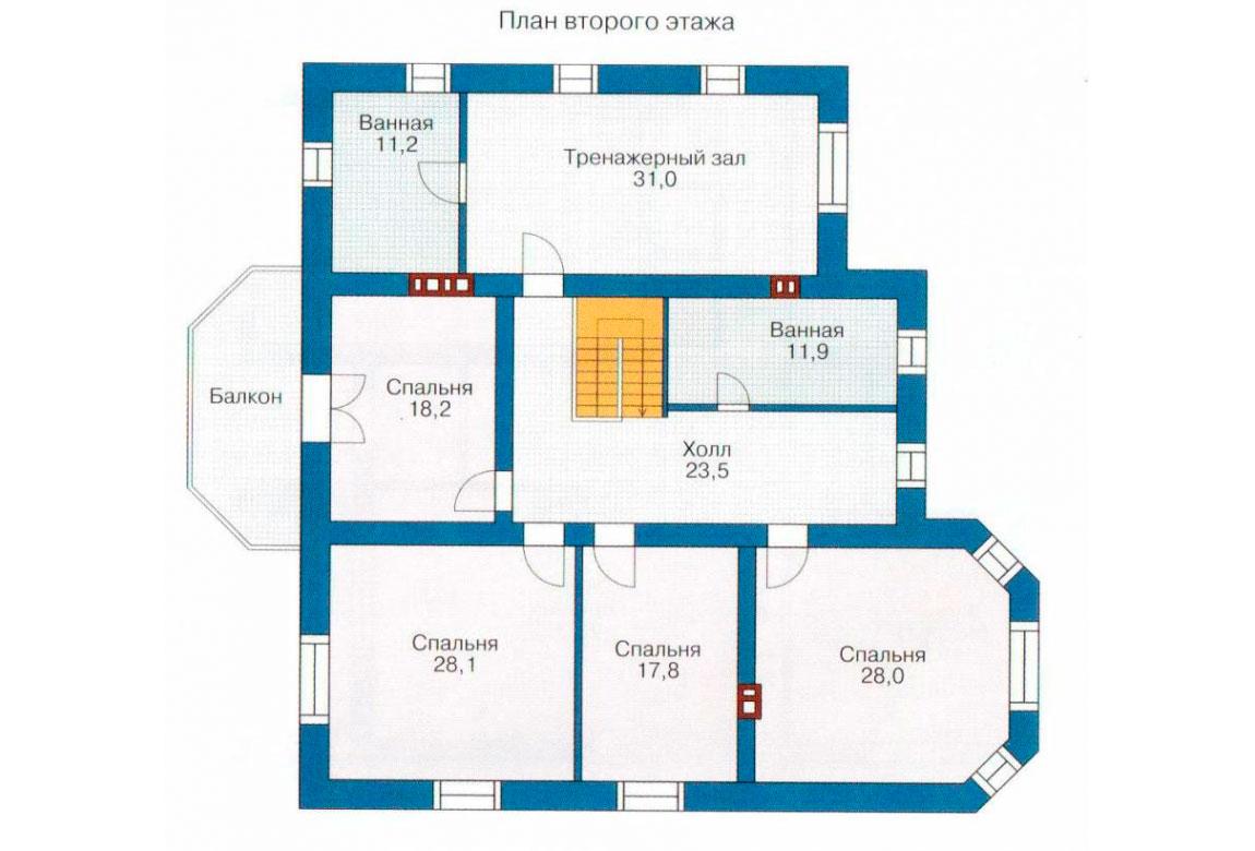 План N1 проекта дома из блоков АСД-1223