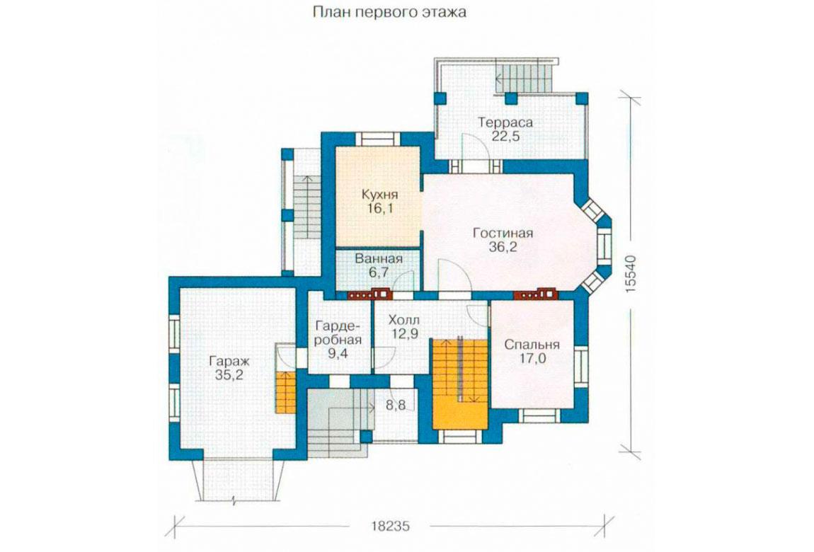 План N2 проекта дома из блоков АСД-1224