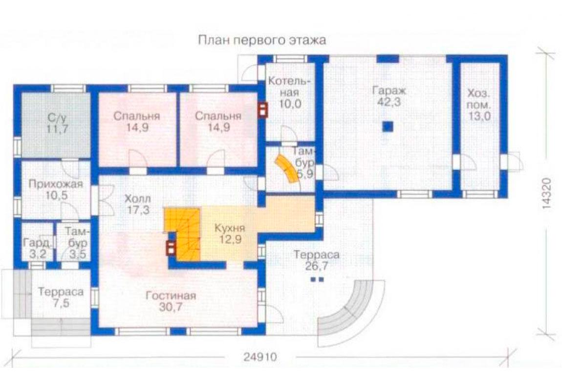 План N1 проекта дома из блоков АСД-1225