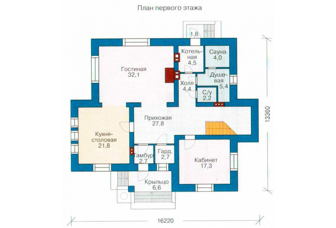 План N1 проекта дома из блоков АСД-1226