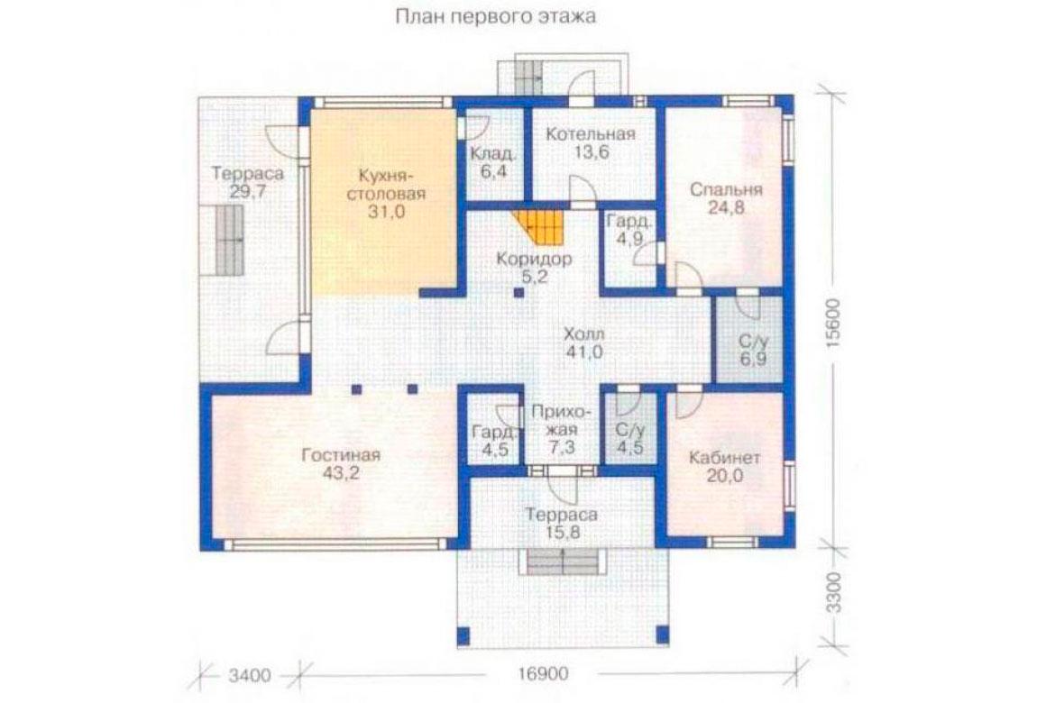 План N1 проекта дома из блоков АСД-1227