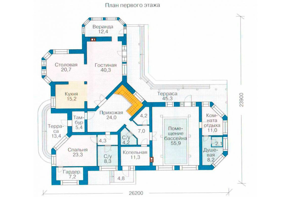 План N1 проекта дома из блоков АСД-1229