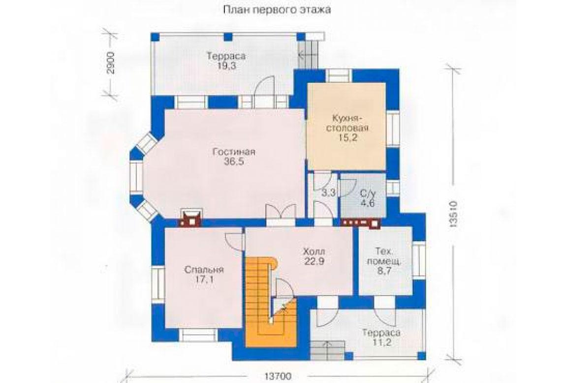 План N1 проекта кирпичного дома АСД-1023