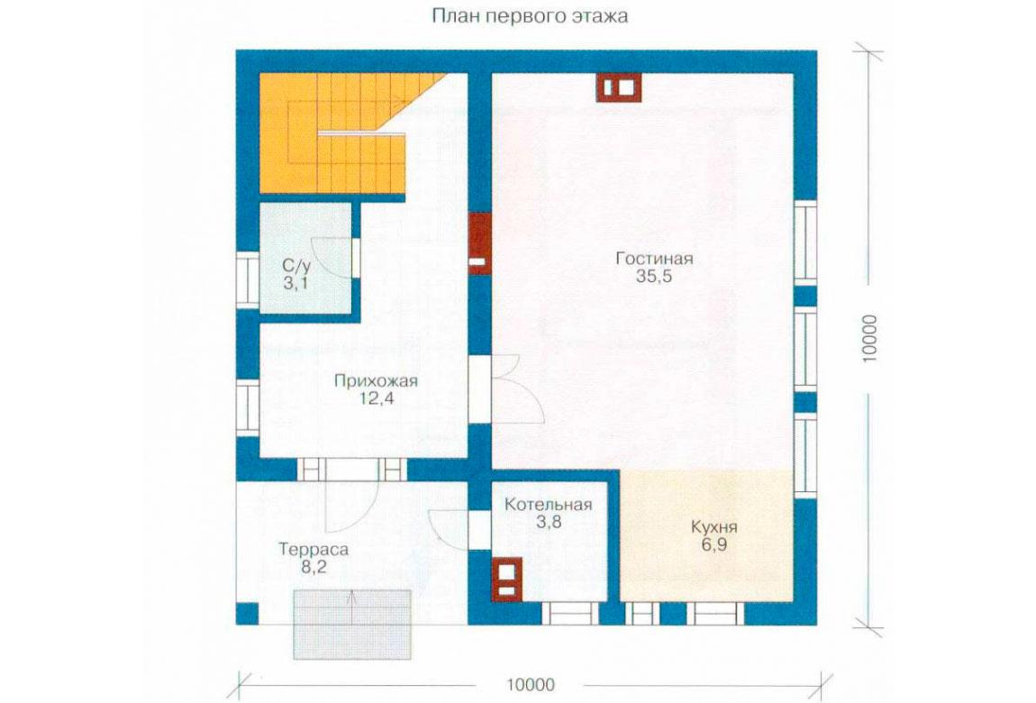 План N1 проекта дома из СИП-панелей АСД-1244