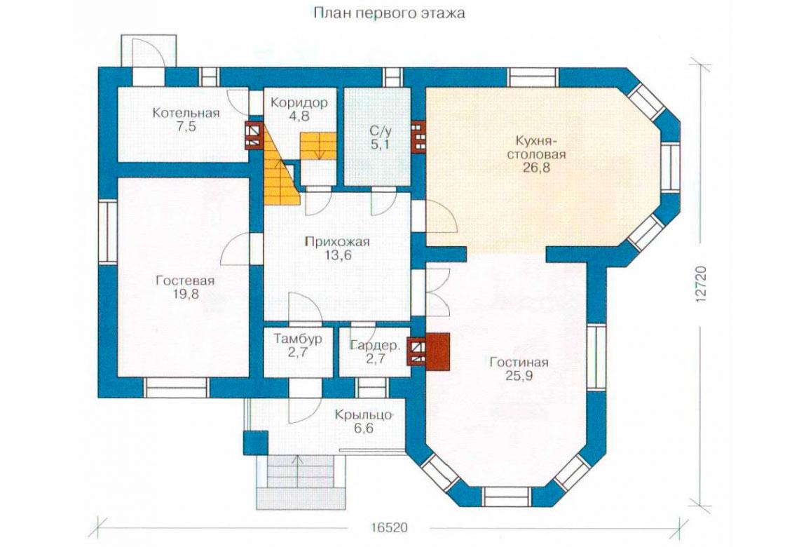 План N1 проекта кирпичного дома АСД-1025
