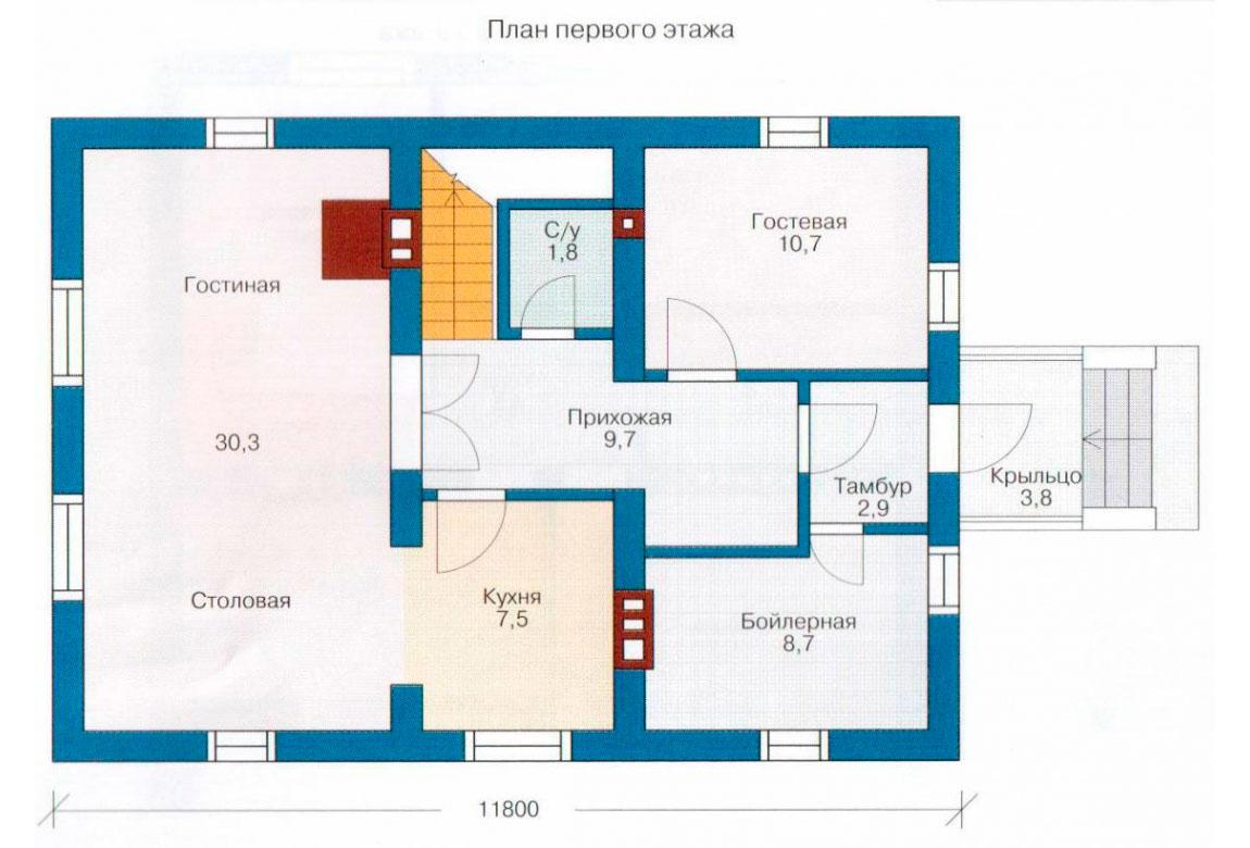 План N1 проекта дома из СИП-панелей АСД-1254