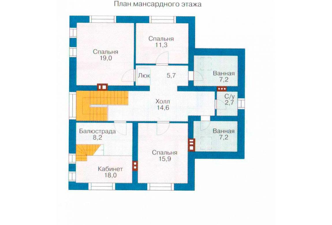 План N1 проекта кирпичного дома АСД-1027