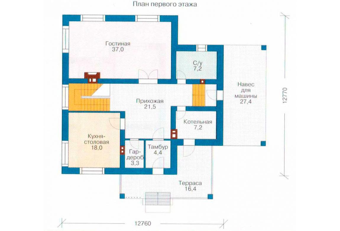 План N2 проекта кирпичного дома АСД-1027