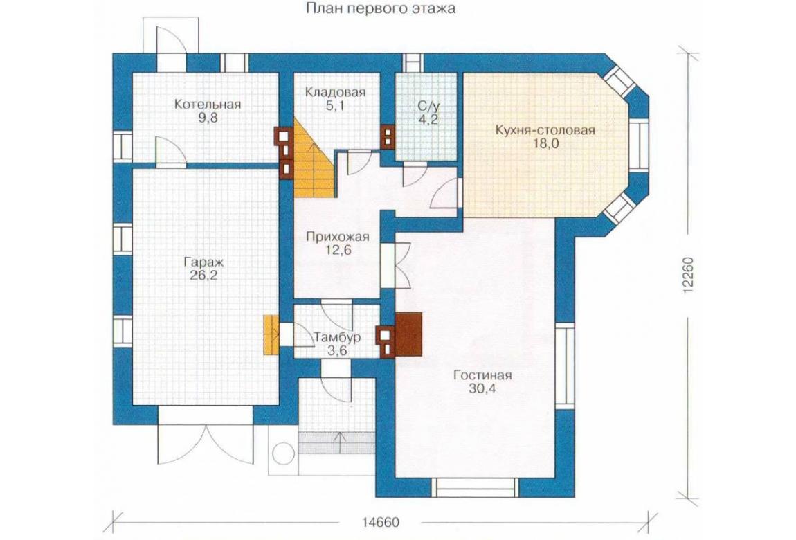 План N1 проекта кирпичного дома АСД-1029