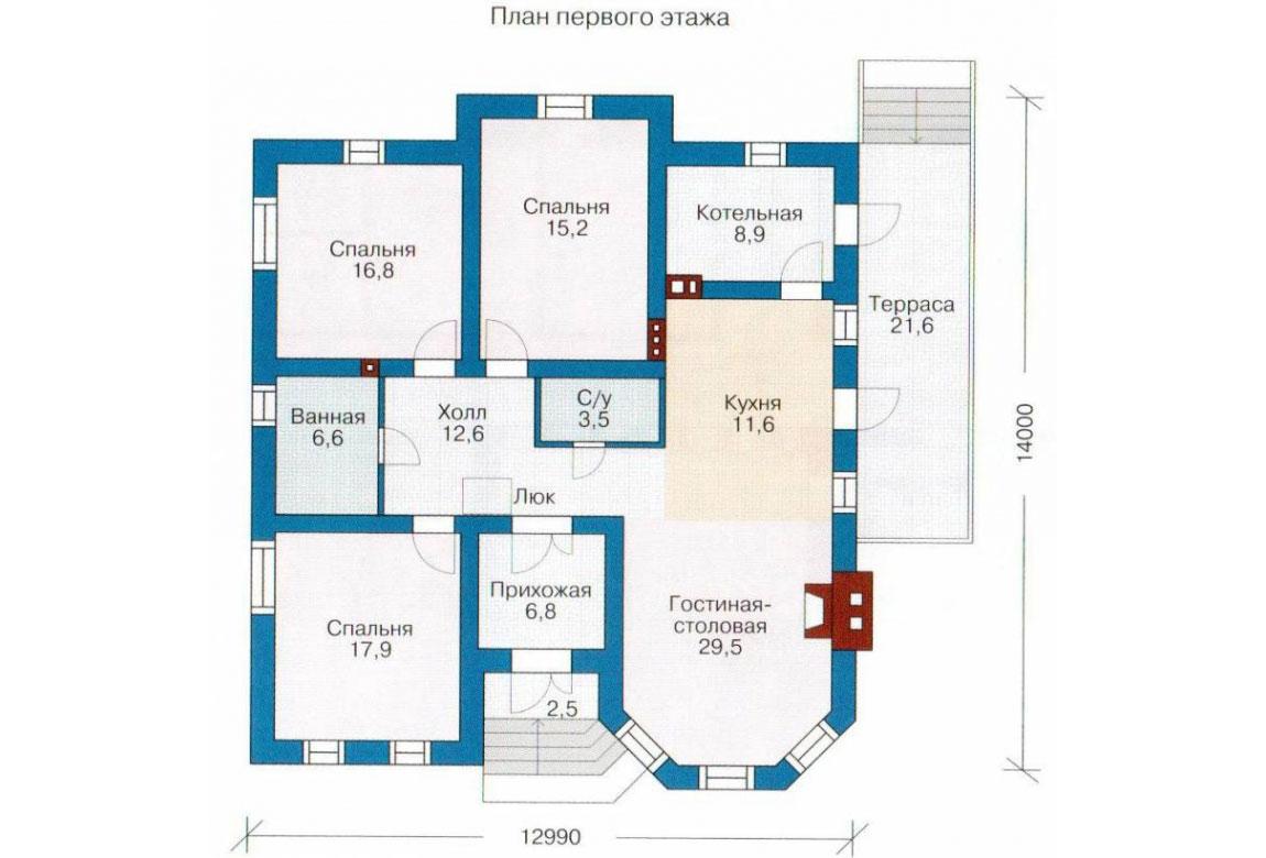 План N1 проекта кирпичного дома АСД-1003
