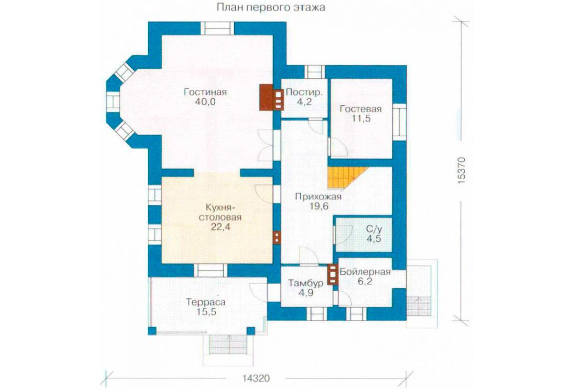 План N1 проекта кирпичного дома АСД-1030
