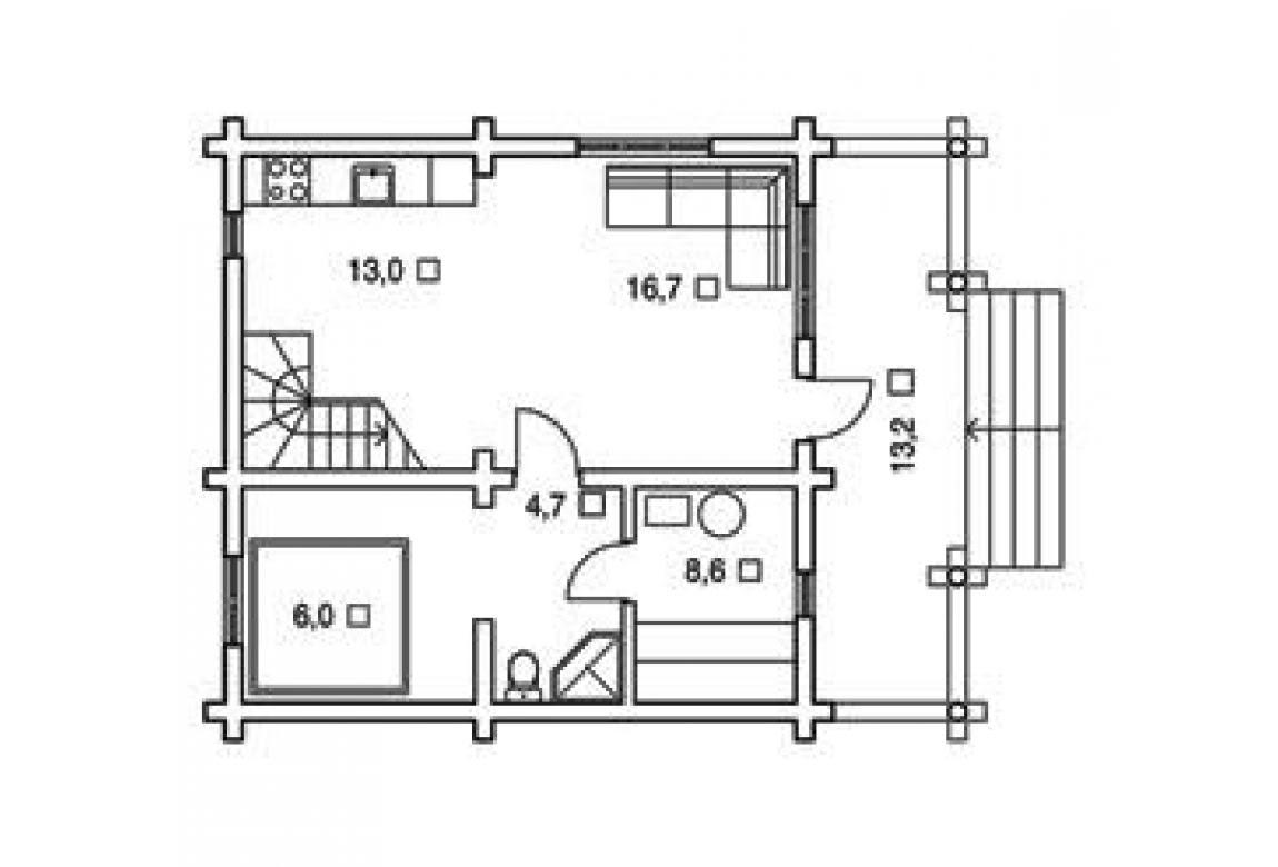 План N1 проекта дома из бревна АСД-1322
