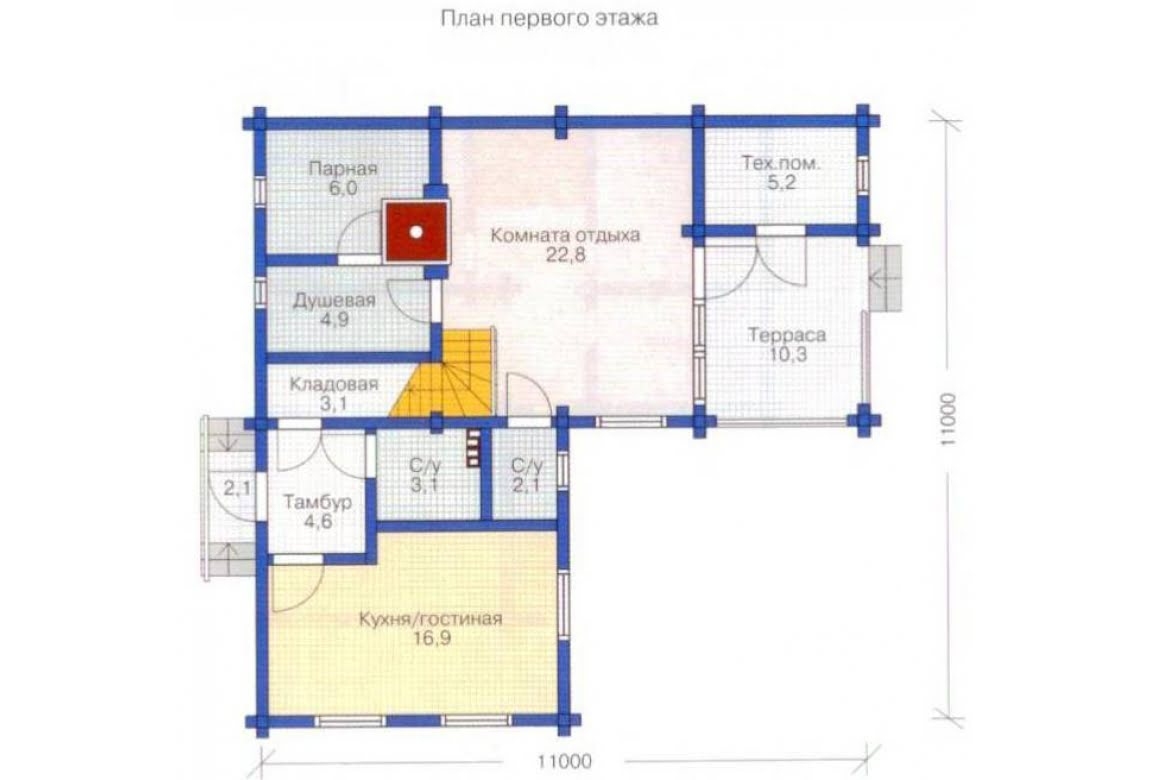 План N1 проекта дома из клееного бруса АСД-1324