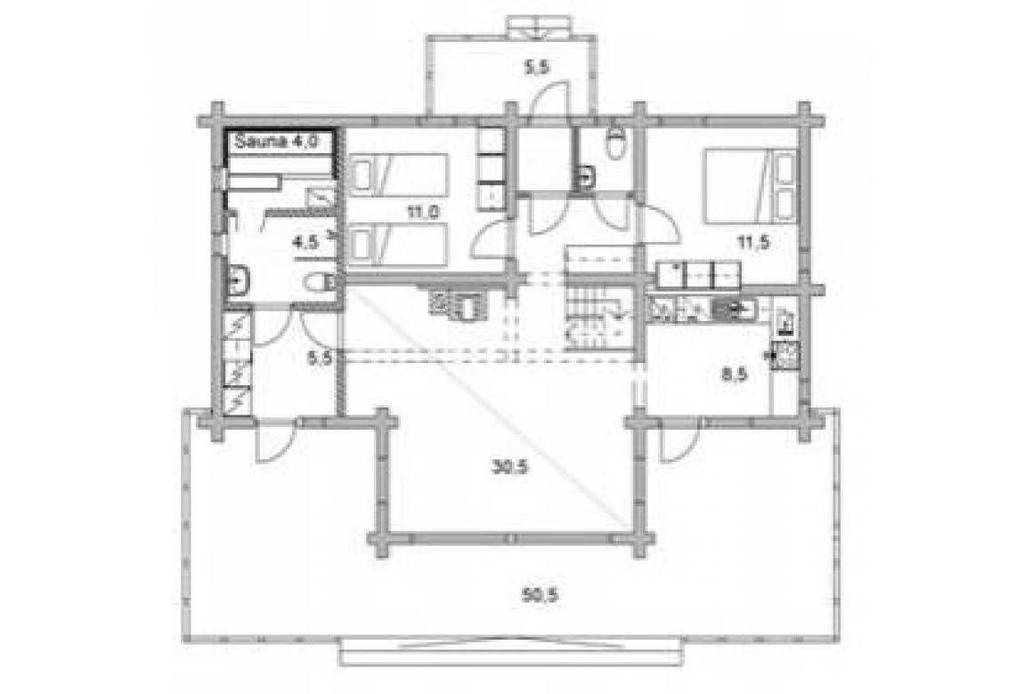 План N1 проекта дома из бревна АСД-1326