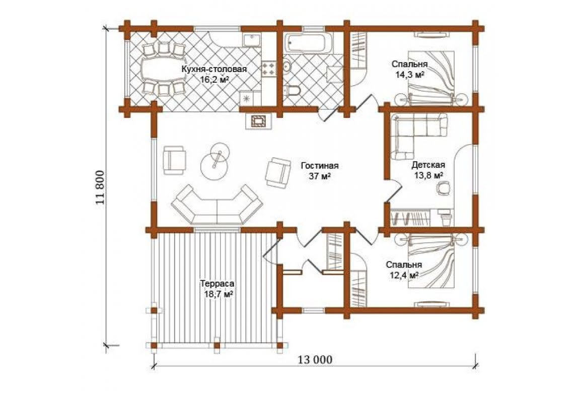 План N1 проекта дома из бревна АСД-1327