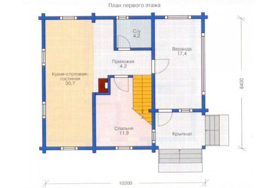 План N1 проекта дома из клееного бруса АСД-1328