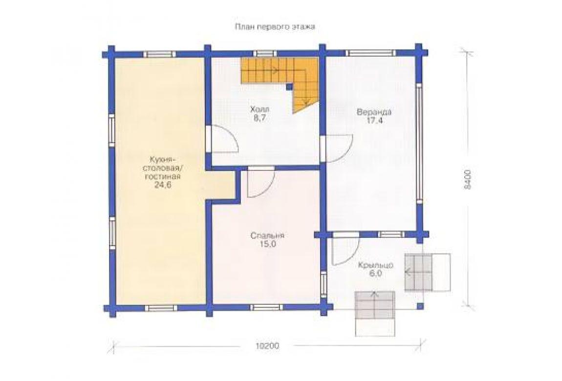 План N1 проекта дома из клееного бруса АСД-1329