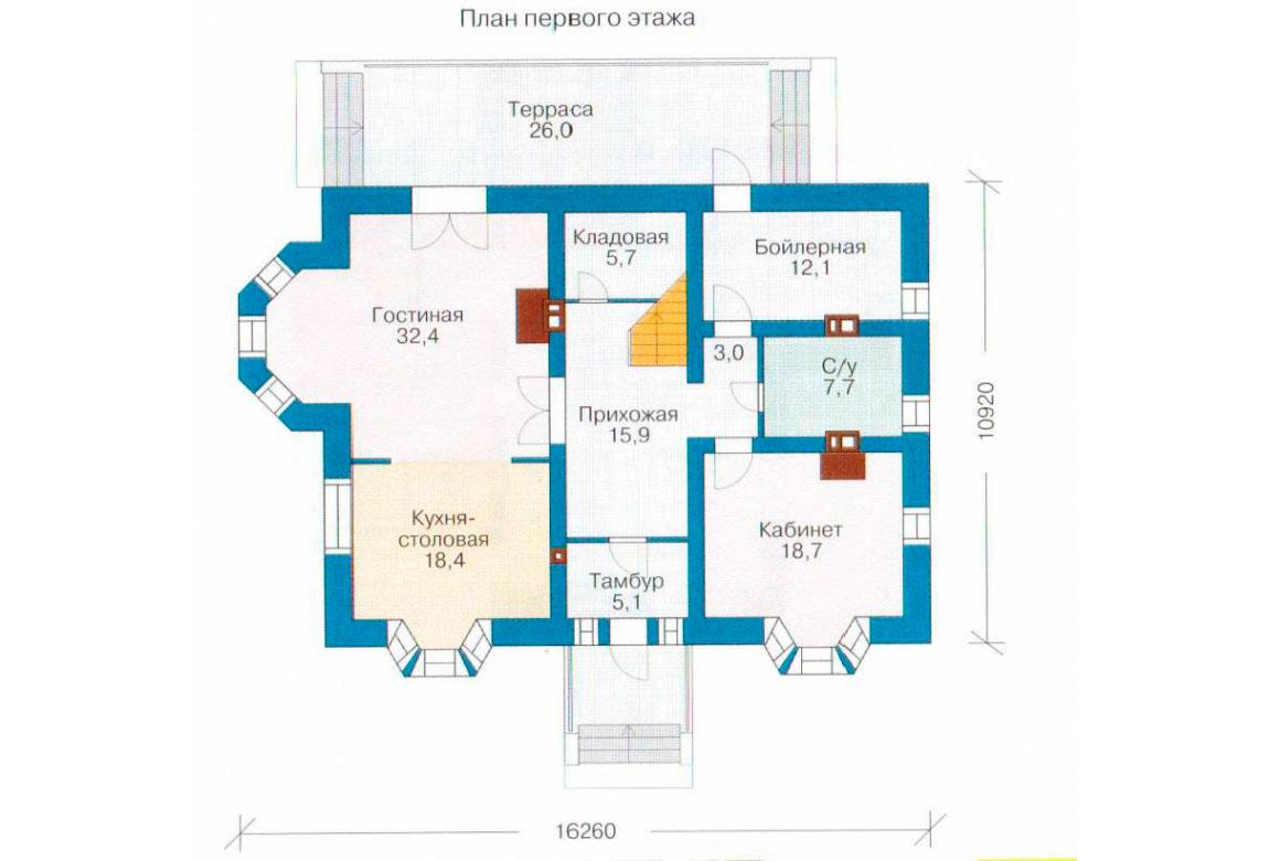 План N1 проекта кирпичного дома АСД-1033