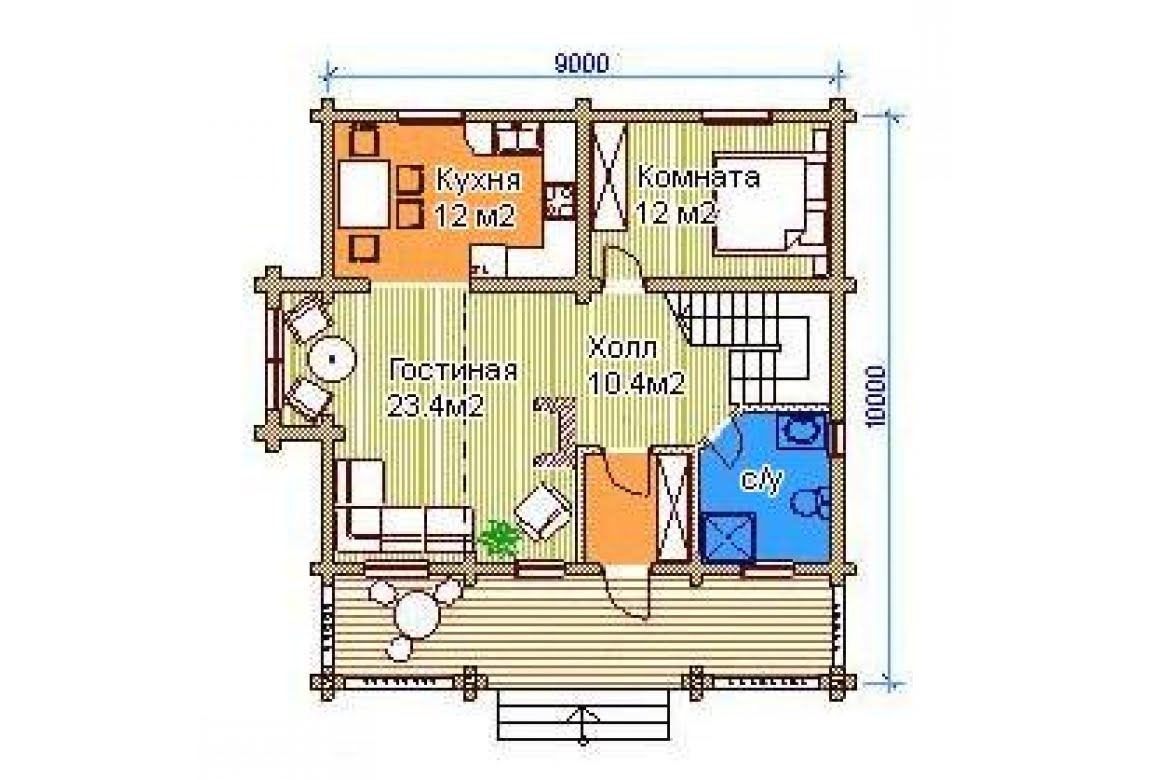 План N1 проекта дома из бревна АСД-1331