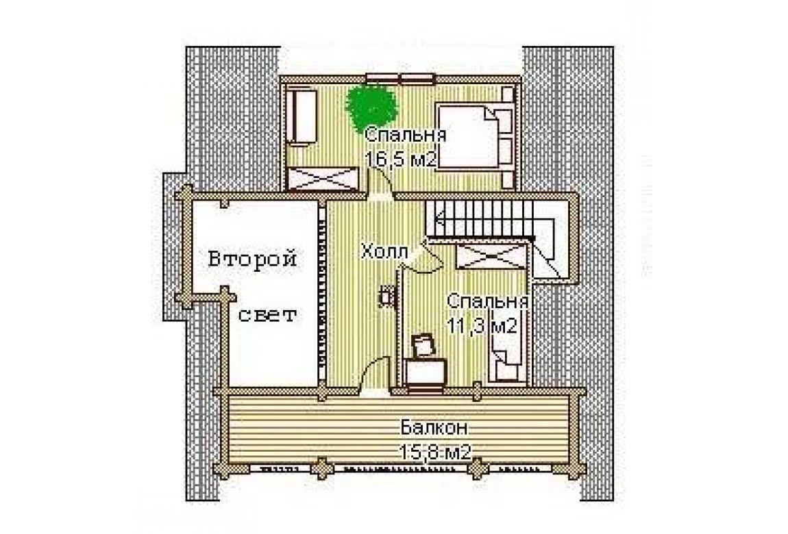 План N2 проекта дома из бревна АСД-1331