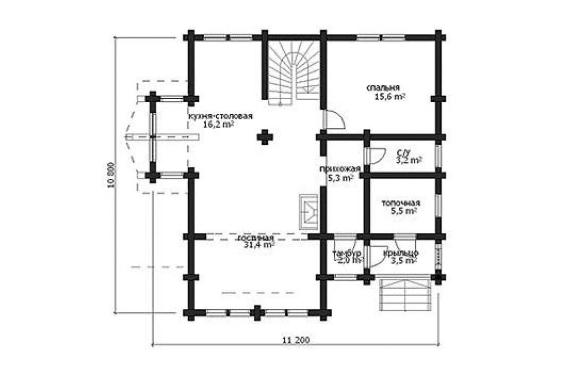 План N1 проекта дома из бревна АСД-1332