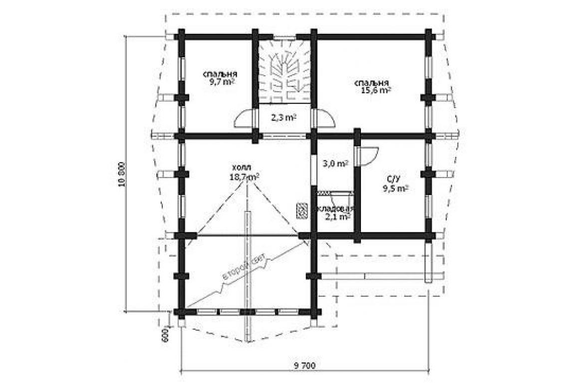 План N2 проекта дома из бревна АСД-1332