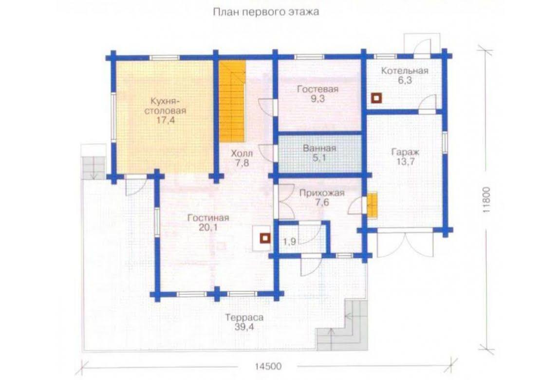 План N1 проекта дома из клееного бруса АСД-1333