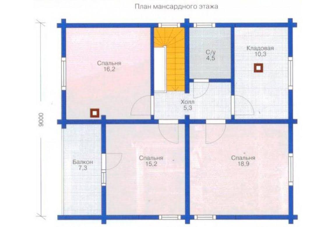 План N1 проекта дома из клееного бруса АСД-1334