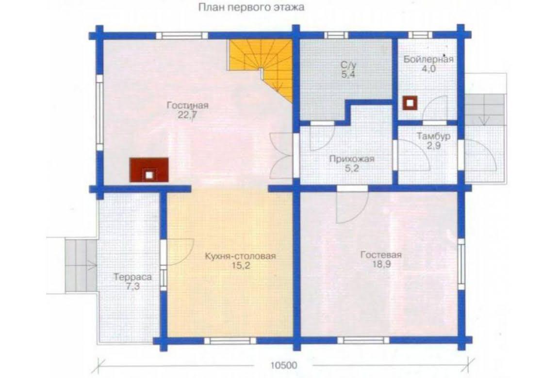 План N2 проекта дома из клееного бруса АСД-1334