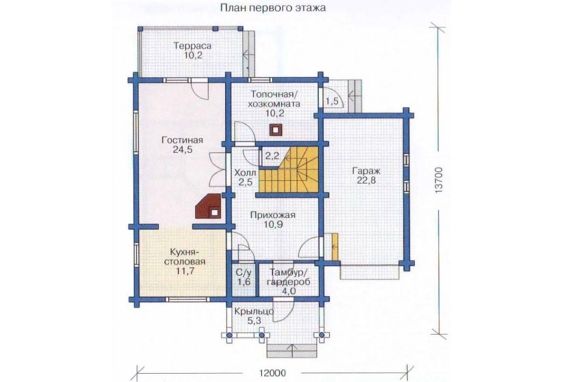 План N1 проекта дома из бревна АСД-1335
