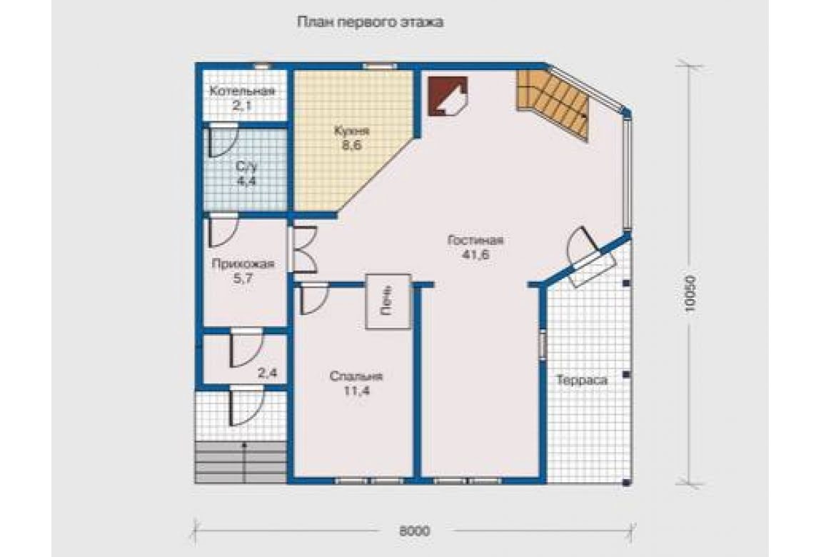 План N1 проекта дома из клееного бруса АСД-1336