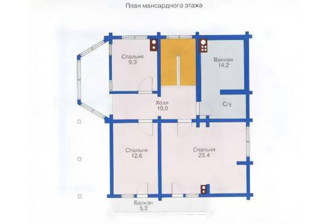 План N2 проекта дома из клееного бруса АСД-1337
