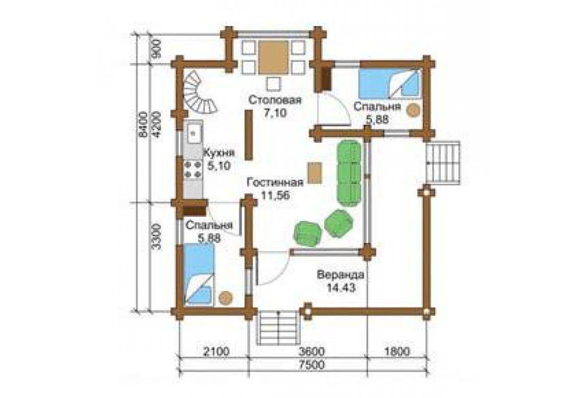 План N1 проекта дома из бревна АСД-1338