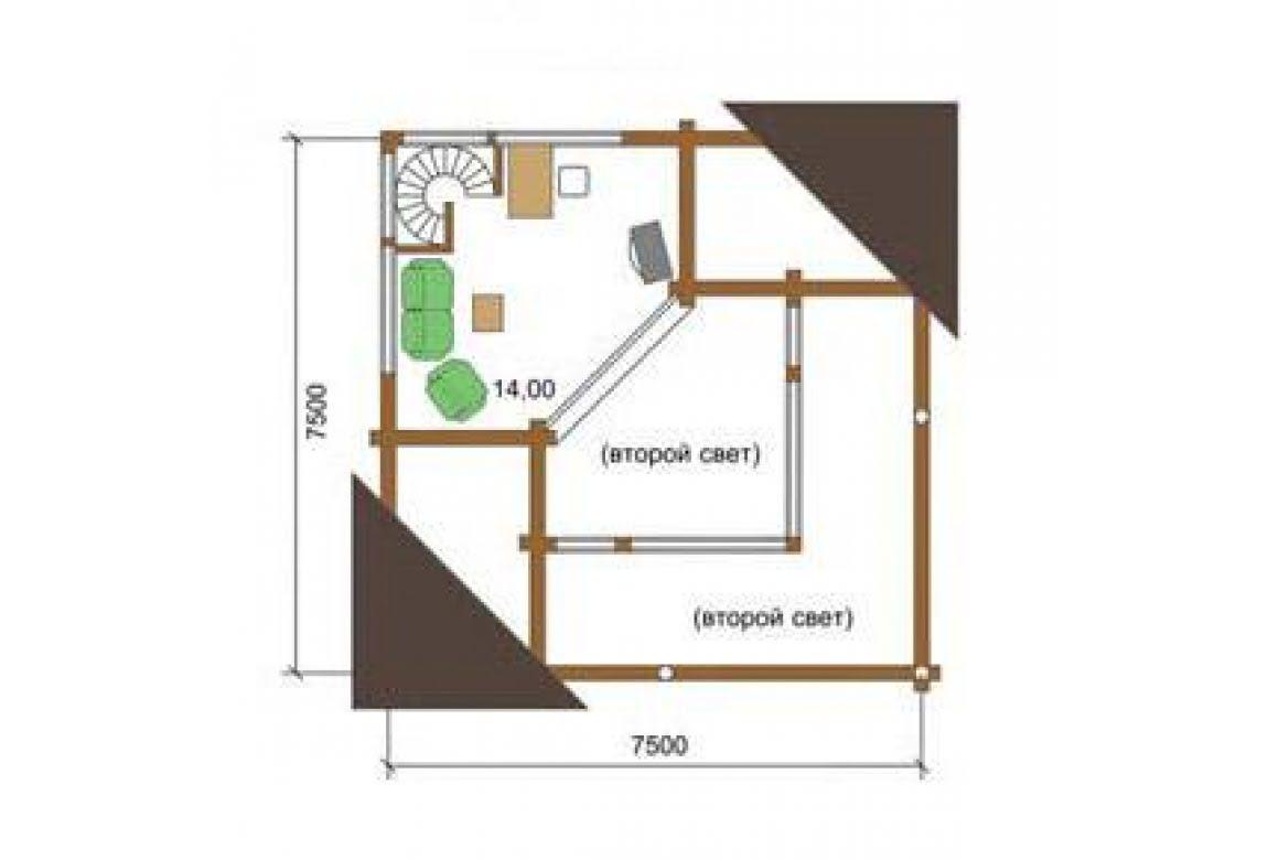 План N2 проекта дома из бревна АСД-1338