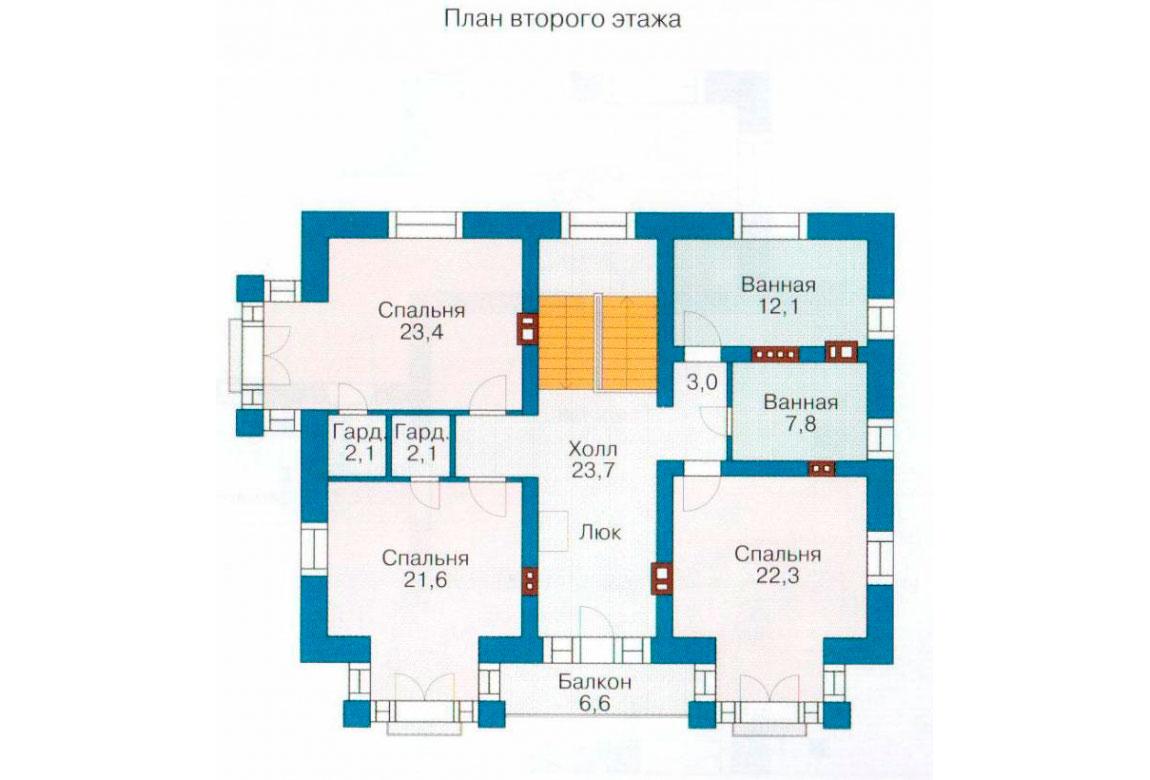План N1 проекта кирпичного дома АСД-1034