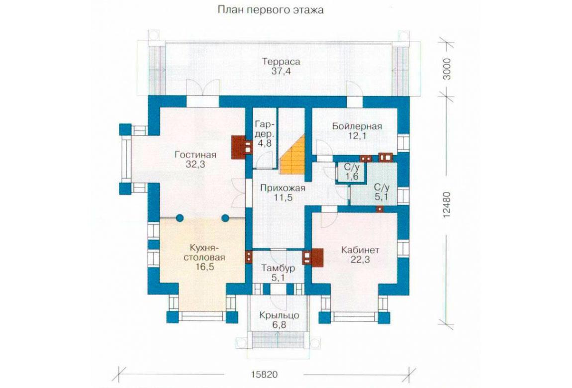 План N2 проекта кирпичного дома АСД-1034