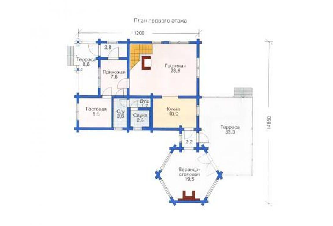 План N1 проекта дома из бревна АСД-1340