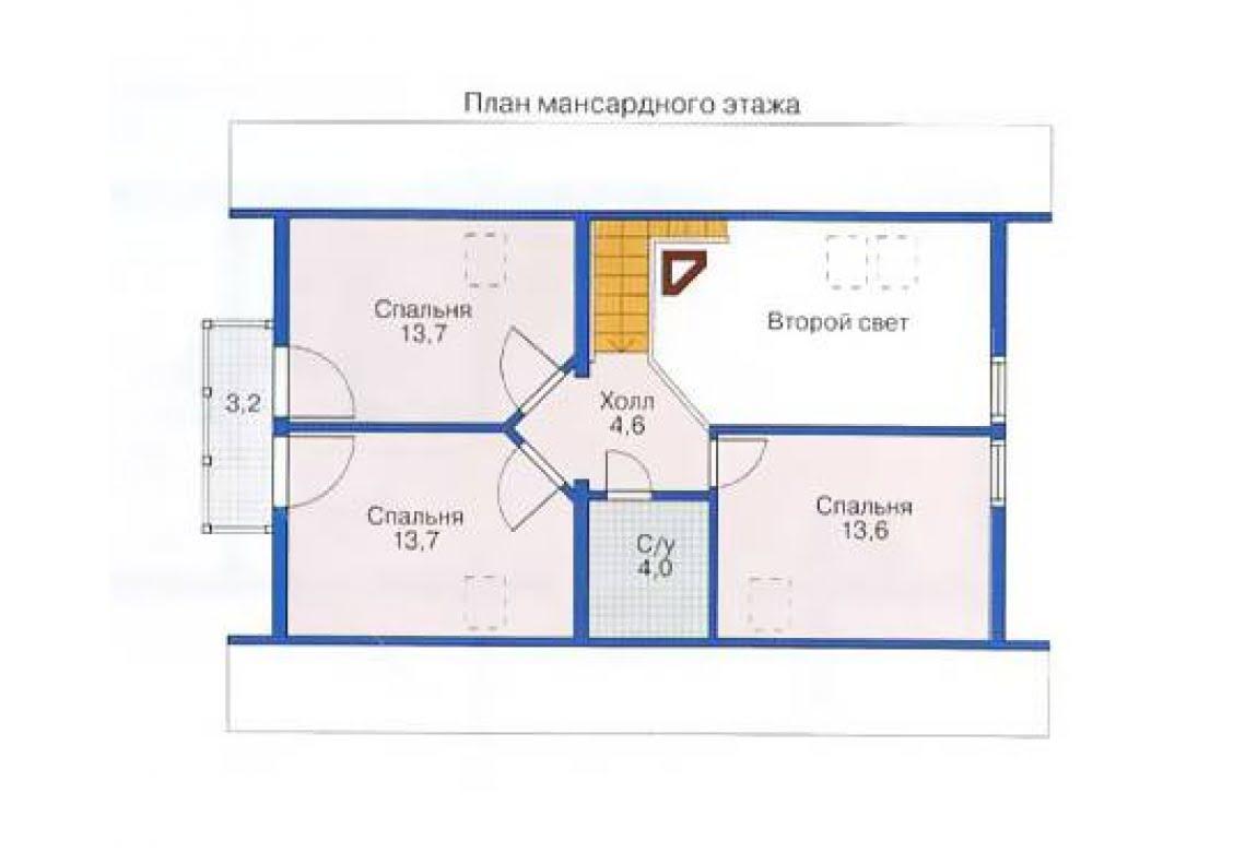 План N2 проекта дома из бревна АСД-1340