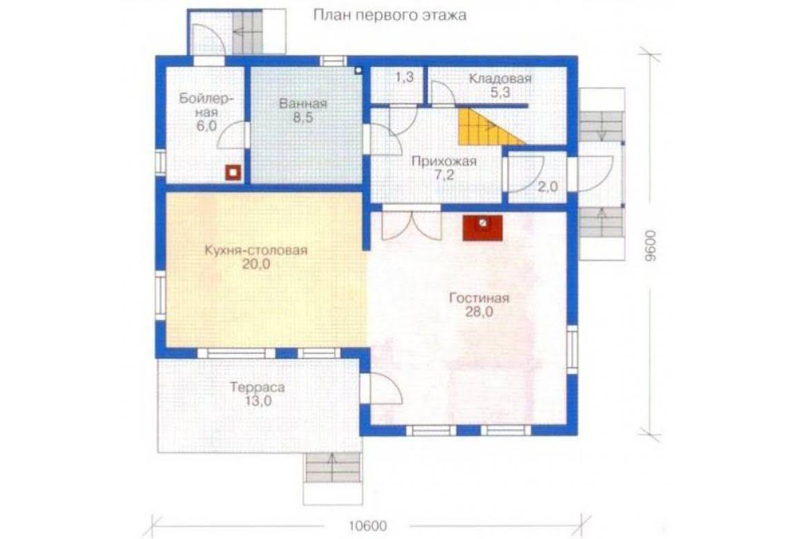План N1 проекта дома из клееного бруса АСД-1341