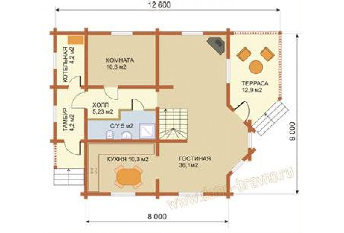 План N1 проекта дома из бревна АСД-1342