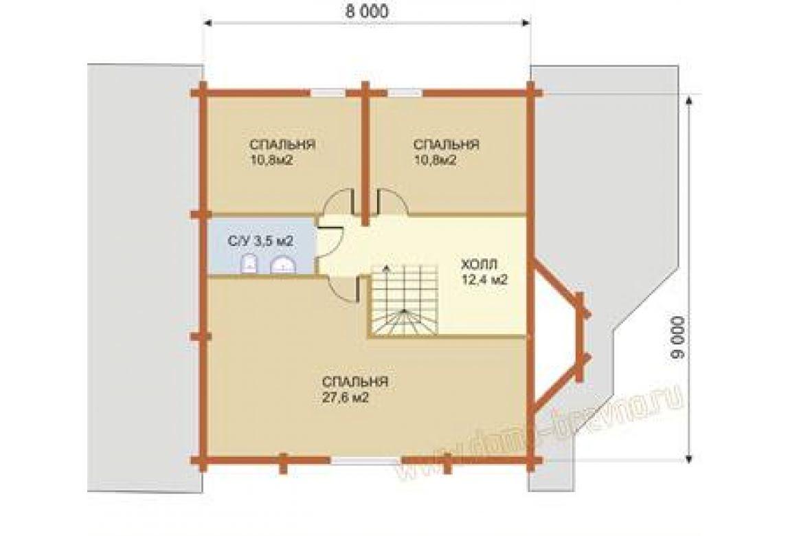 План N2 проекта дома из бревна АСД-1342