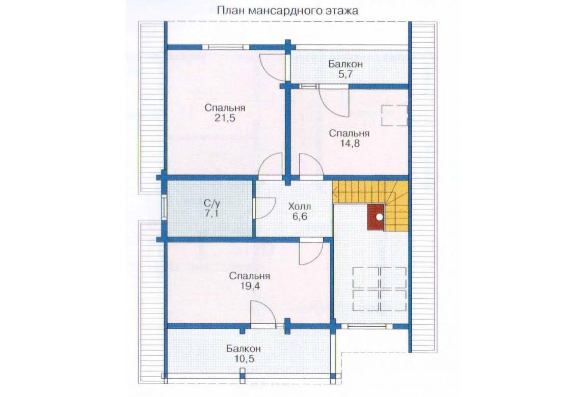 План N1 проекта дома из клееного бруса АСД-1344