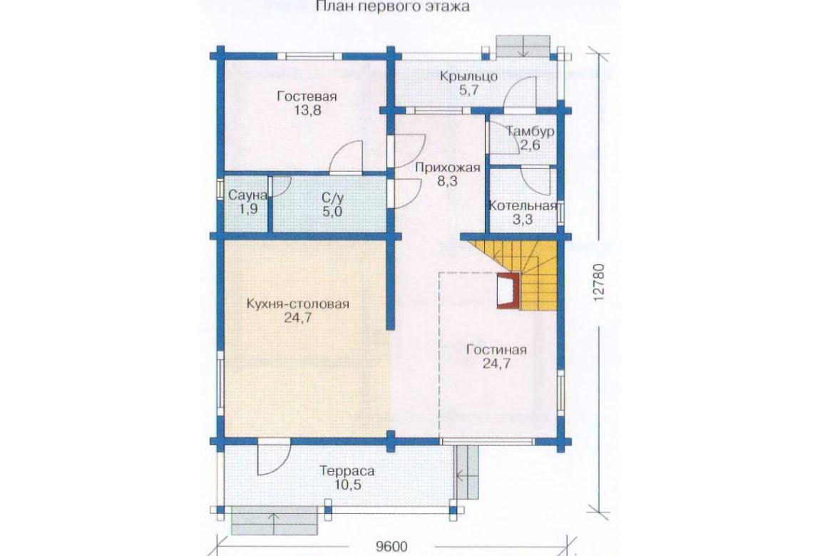 План N2 проекта дома из клееного бруса АСД-1344