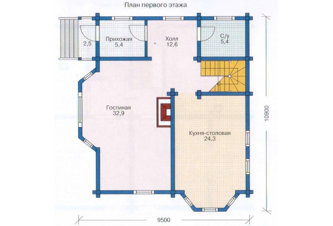 План N1 проекта дома из клееного бруса АСД-1345