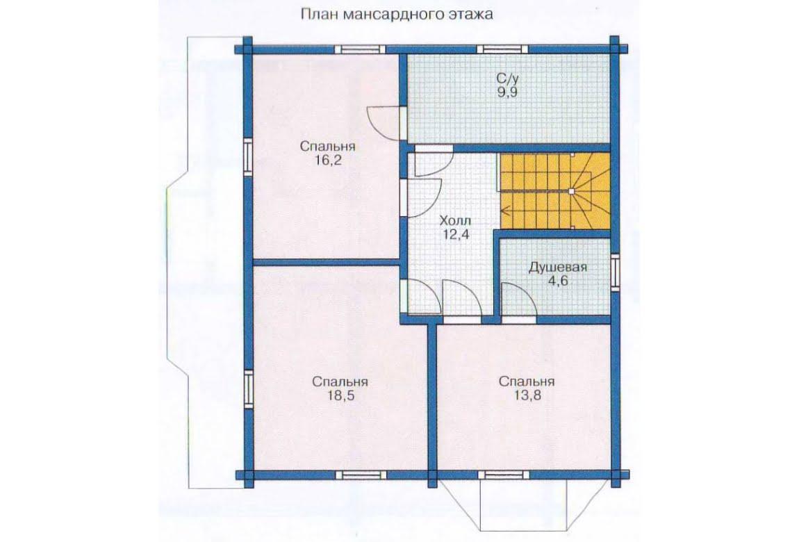 План N2 проекта дома из клееного бруса АСД-1345