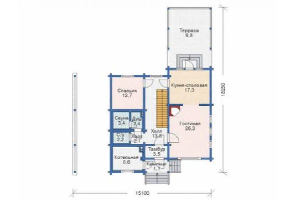 План N1 проекта дома из бревна АСД-1346