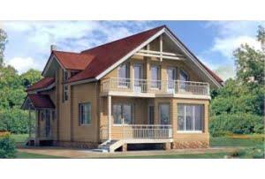 Деревянный дом из клееного бруса по проекту 10-70